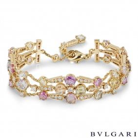 Bvlgari Yellow Gold Sapphire and Diamond Rosette Bracelet